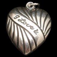 Puffy Heart Charm Sterling Silver I LOVE U Vintage