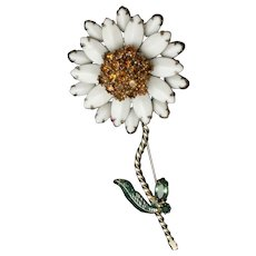 White Yellow Flower Brooch Pin Vintage Enamel and Rhinestones