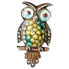 Owl Pin Alice Caviness Sterling Silver Germany Vintage Bird