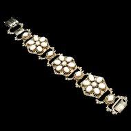 Milk White Floral Design Bracelet Vintage Retro