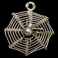 Spider and Web Charm Vintage Silver