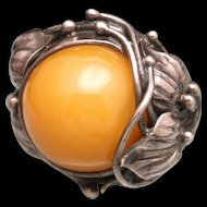Amber Sterling Silver Ring Size 7