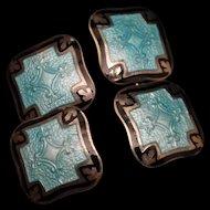 Sterling Silver Enamel Double Panel Cuff Links Vintage