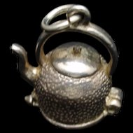 Kettle of Fish Charm Vintage Mechanical Sterling Silver
