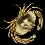 Crab Brooch Pin Gold Tone with Rhinestones