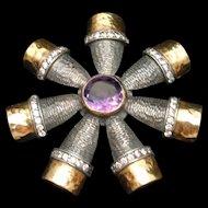 Sterling Silver 22k Gold Amethyst Flower Pendant
