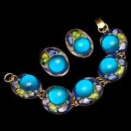 Ruth Buol Enamel Bracelet Earring Set Vintage American