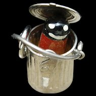 Garbage Trash Can Charm Sterling Silver Opens to Critter Inside