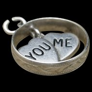 You Me Hearts Wedding Ring Charm Vintage Sterling Silver