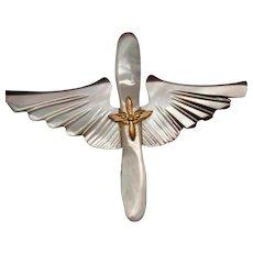 Military Pilot Wings Vintage Abalone Pin circa WW II