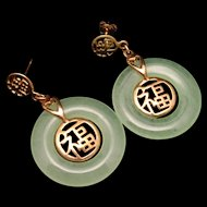 Jade Drop Earrings 18k Gold Plated Posts