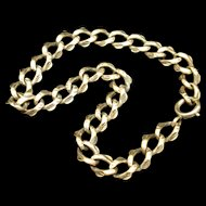 "Gold Filled Charm Bracelet with Unusual Crimped Edged Links Vintage 8"""