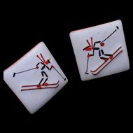 Ski Cuff Links Enamel over Copper Vintage