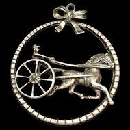 Harness Race Horse Sulky Jockey Driver Pendant Sterling Silver