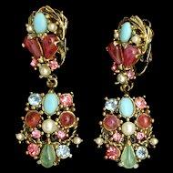 Multi-Colored Drop Earrings Vintage