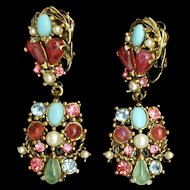 Multi-Colored Drop Earrings Vintage