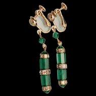 Emerald Green Stones Vintage Drop Earrings
