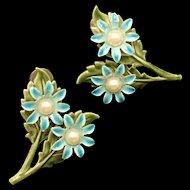 Enamel Flower Earrings Vintage Screw-Backs