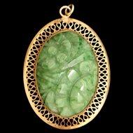 Winard Jade and Gold Filled Pendant Vintage