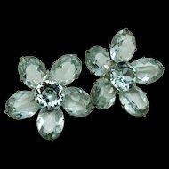 Alexandrite Rhinestone Flower Earrings Vintage Pale Blue to Lavender