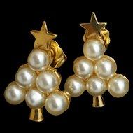 Christmas Tree Earrings Imitation Pearls Posts