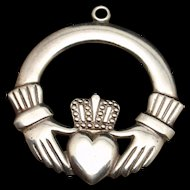 Claddagh Charm Sterling Silver Pretty on Both Sides