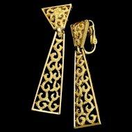 Trifari Drop Earrings Vintage Necktie Design