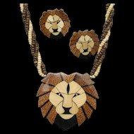Lions Head Necklace Earrings Set Vintage