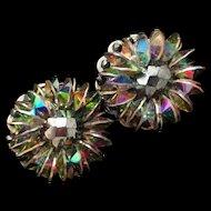 Hobe Vintage Earrings AB Vitrail Rivoli Rhinestones