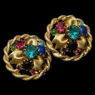 Colorful Earrings Vintage Clips Backs