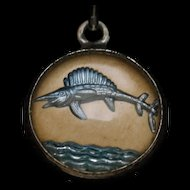 Fish Charm Reverse Crystal Intaglio Sterling Silver Dome Vintage