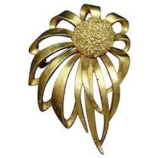 Windblown Flower Brooch Pin Vintage