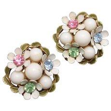 Flower Cluster Vintage Earrings White Pink Blue Green