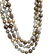 Triple Strand Necklace Combo of Interesting Beads Vintage Japan