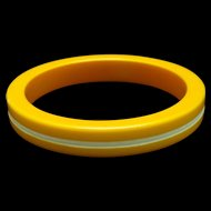 Yellow Bangle Bracelet with White Groove Vintage