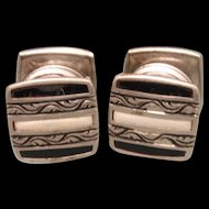 Striped Enamel Snap Cuff Links Vintage 1920s B&W Kum-Apart
