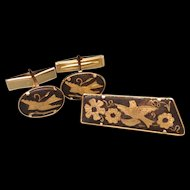 Damascene Bird Design Cuff Links and Tie Bar Set Vintage