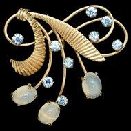 Moonstones and Rhinestones Pendant Vintage Gold Filled Van Dell