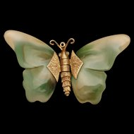 Large Butterfly Pendant with Moving Wings Vintage