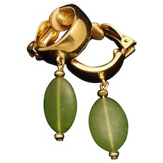 Givenchy Hoop Earrings with Green Drops Vintage