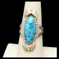 Turquoise Sterling Silver Ring Size 6.5 Coleman Black Hills