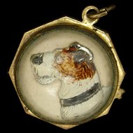 Dog Charm Reverse Crystal Intaglio Terrier