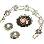 Pietra Dura Suite Bracelet Brooch Earrings Vintage