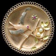 Scenic Pendant Bird Guarding Nest of Eggs 14k Yellow Gold Ruby Pearl