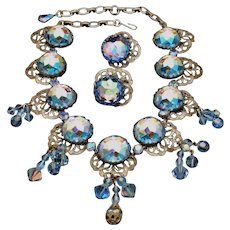Vendome Necklace Earrings Set Blue Rivoli Stones Crystals and More