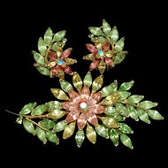 Trifari Floral Pin & Earrings Set Vintage Pastel Flowers Tropical Spring Color Rhinestones