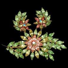 Trifari Floral Pin & Earrings Set Vintage Pastel Flowers Tropical Spring Color Rhinestones