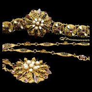 Hobe Necklace Bracelet Set Austro-Hungarian Influenced Design Vintage