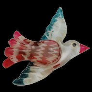 Vintage Lucite Bird Pin Red White Blue
