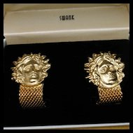 Swank Medusa Wrap-Around Cuff Links Vintage Original Box